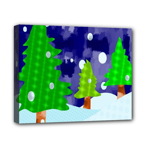 Christmas Trees And Snowy Landscape Canvas 10  X 8  by Simbadda