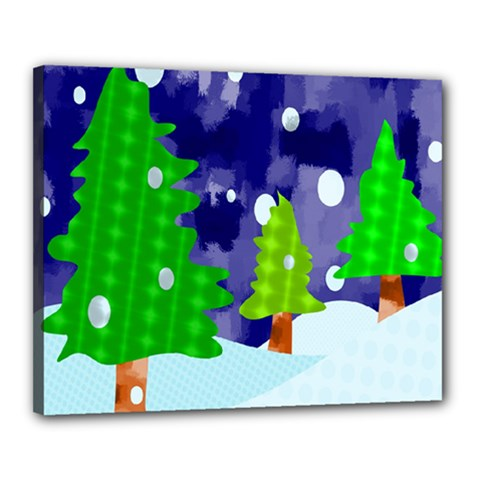 Christmas Trees And Snowy Landscape Canvas 20  X 16  by Simbadda