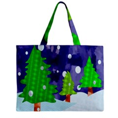 Christmas Trees And Snowy Landscape Zipper Mini Tote Bag