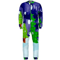 Christmas Trees And Snowy Landscape Onepiece Jumpsuit (men)