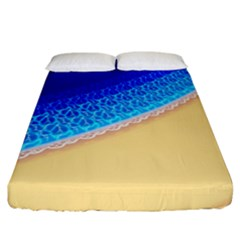 Beach Sea Water Waves Sand Fitted Sheet (california King Size) by Alisyart