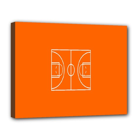 Basketball Court Orange Sport Orange Line Canvas 14  X 11  by Alisyart