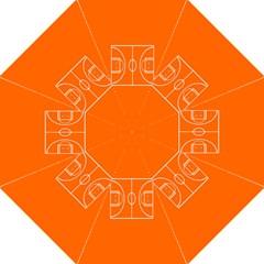 Basketball Court Orange Sport Orange Line Hook Handle Umbrellas (large) by Alisyart