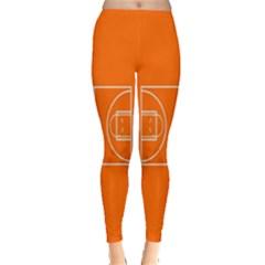 Basketball Court Orange Sport Orange Line Leggings  by Alisyart