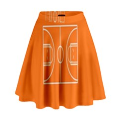 Basketball Court Orange Sport Orange Line High Waist Skirt by Alisyart
