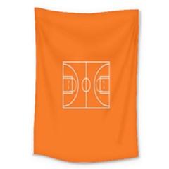Basketball Court Orange Sport Orange Line Large Tapestry by Alisyart