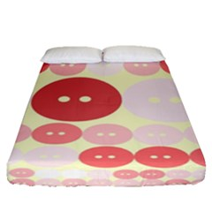 Buttons Pink Red Circle Scrapboo Fitted Sheet (queen Size) by Alisyart