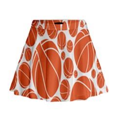 Basketball Ball Orange Sport Mini Flare Skirt by Alisyart