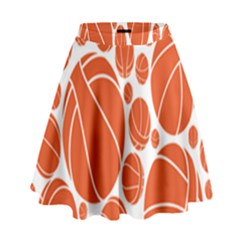 Basketball Ball Orange Sport High Waist Skirt by Alisyart