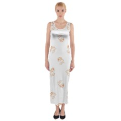 Helpless Bird Sketch Seamless Pattern Fitted Maxi Dress by dflcprintsclothing