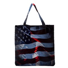Grunge American Flag Background Grocery Tote Bag by Simbadda