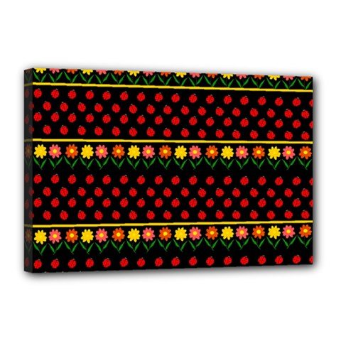 Ladybugs And Flowers Canvas 18  X 12  by Valentinaart