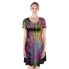 Fractal In Many Different Colours Short Sleeve V Neck Flare Dress
