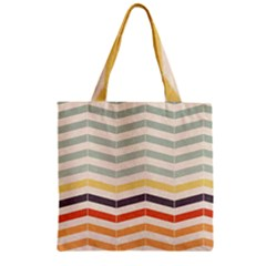 Abstract Vintage Lines Zipper Grocery Tote Bag by Simbadda