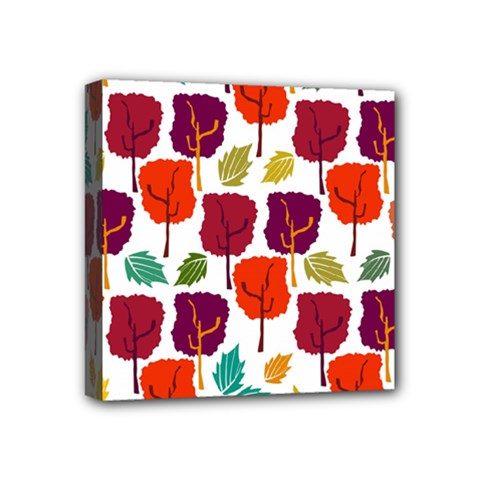 Colorful Trees Background Pattern Mini Canvas 4  X 4  by Simbadda