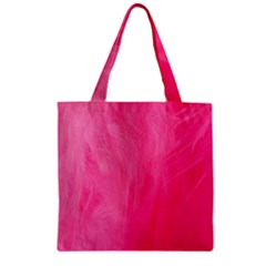 Very Pink Feather Zipper Grocery Tote Bag by Simbadda