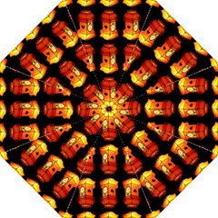 Paper Lanterns Pattern Background In Fiery Orange With A Black Background Golf Umbrellas by Simbadda