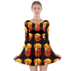 Paper Lanterns Pattern Background In Fiery Orange With A Black Background Long Sleeve Skater Dress