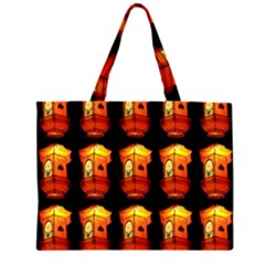 Paper Lanterns Pattern Background In Fiery Orange With A Black Background Zipper Large Tote Bag by Simbadda