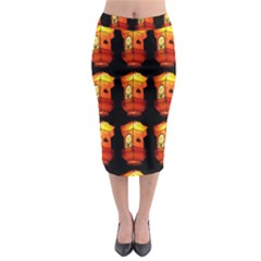 Paper Lanterns Pattern Background In Fiery Orange With A Black Background Midi Pencil Skirt by Simbadda