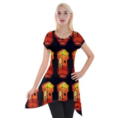 Paper Lanterns Pattern Background In Fiery Orange With A Black Background Short Sleeve Side Drop Tunic