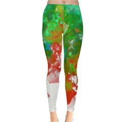 Digitally Painted Messy Paint Background Texture Leggings  by Simbadda