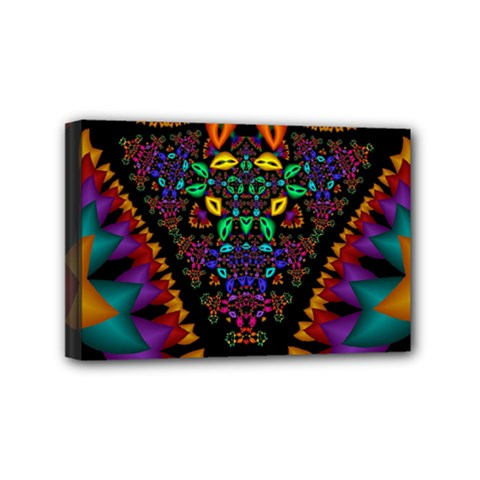 Symmetric Fractal Image In 3d Glass Frame Mini Canvas 6  X 4  by Simbadda
