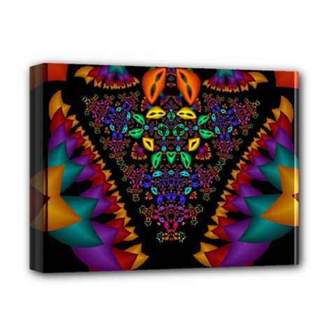 Symmetric Fractal Image In 3d Glass Frame Deluxe Canvas 16  X 12   by Simbadda