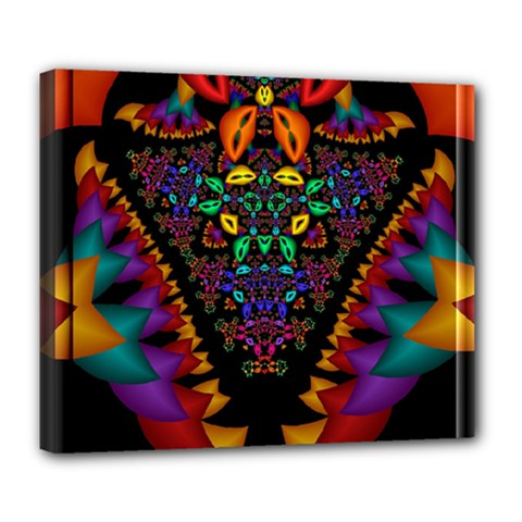 Symmetric Fractal Image In 3d Glass Frame Deluxe Canvas 24  X 20   by Simbadda