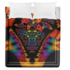 Symmetric Fractal Image In 3d Glass Frame Duvet Cover Double Side (queen Size) by Simbadda
