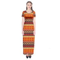 Abstract Lines Seamless Pattern Short Sleeve Maxi Dress by Simbadda