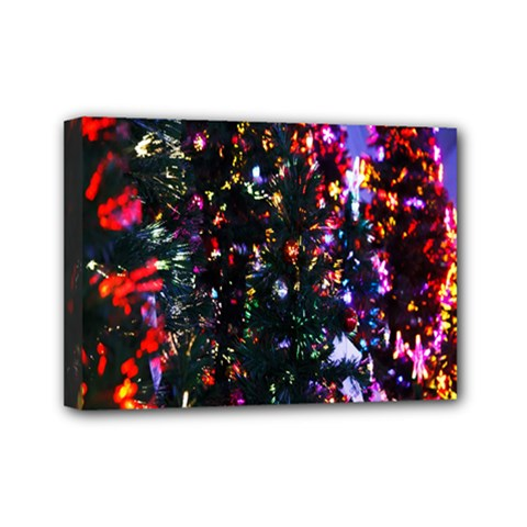 Lit Christmas Trees Prelit Creating A Colorful Pattern Mini Canvas 7  X 5  by Simbadda