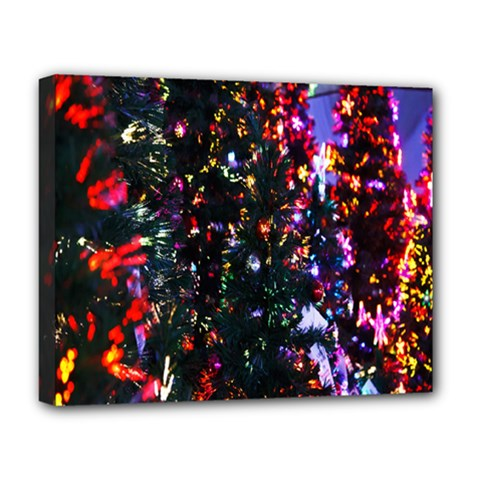 Lit Christmas Trees Prelit Creating A Colorful Pattern Deluxe Canvas 20  X 16
