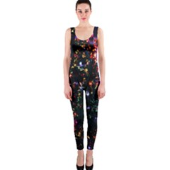 Lit Christmas Trees Prelit Creating A Colorful Pattern Onepiece Catsuit