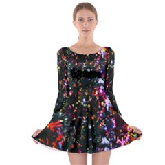 Lit Christmas Trees Prelit Creating A Colorful Pattern Long Sleeve Skater Dress