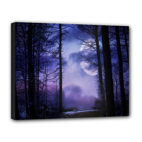 Moonlit A Forest At Night With A Full Moon Canvas 14  X 11  by Simbadda