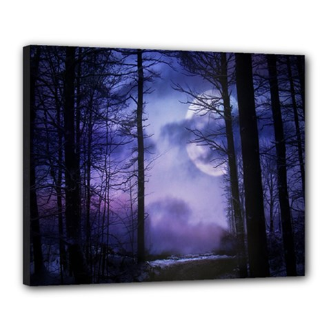 Moonlit A Forest At Night With A Full Moon Canvas 20  X 16  by Simbadda