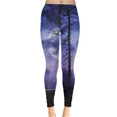 Moonlit A Forest At Night With A Full Moon Leggings  by Simbadda