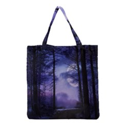 Moonlit A Forest At Night With A Full Moon Grocery Tote Bag by Simbadda