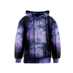 Moonlit A Forest At Night With A Full Moon Kids  Zipper Hoodie by Simbadda