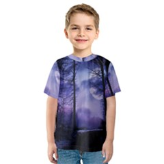 Moonlit A Forest At Night With A Full Moon Kids  Sport Mesh Tee by Simbadda