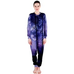 Moonlit A Forest At Night With A Full Moon Onepiece Jumpsuit (ladies)  by Simbadda