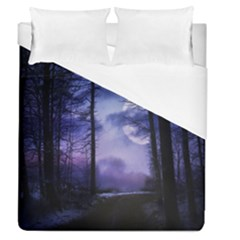 Moonlit A Forest At Night With A Full Moon Duvet Cover (queen Size) by Simbadda