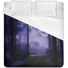 Moonlit A Forest At Night With A Full Moon Duvet Cover (king Size) by Simbadda