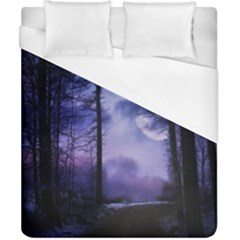 Moonlit A Forest At Night With A Full Moon Duvet Cover (california King Size) by Simbadda
