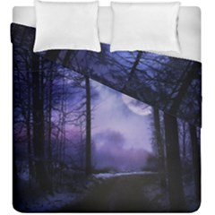 Moonlit A Forest At Night With A Full Moon Duvet Cover Double Side (king Size) by Simbadda