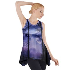 Moonlit A Forest At Night With A Full Moon Side Drop Tank Tunic by Simbadda