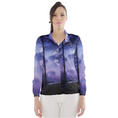 Moonlit A Forest At Night With A Full Moon Wind Breaker (women) by Simbadda