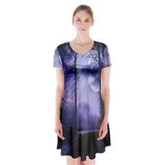 Moonlit A Forest At Night With A Full Moon Short Sleeve V Neck Flare Dress by Simbadda
