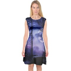 Moonlit A Forest At Night With A Full Moon Capsleeve Midi Dress by Simbadda